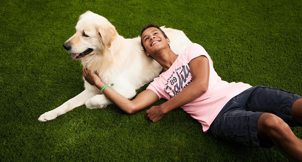 grote hond en jongen op royal grass kunstgras